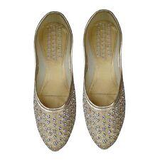Golden Punjabi jutti bridal shoes indian Khussa shoes Mojari designer shoes US-8