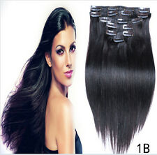 """Hot 100% Full Head Clip In Remy Human Hair Extensions 15"""" 18"""" 20"""" 70g Hair Weft"""