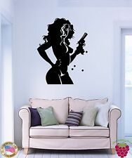 Wall Stickers Vinyl Decal Gangster Sexy Girl With Gun z1143