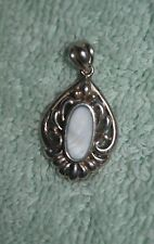 AX-097 - Sterling Silver Pendant for Necklace w White Stone, .925 NV Vintage