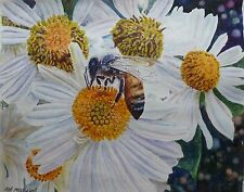 Original work of art Signed Abeja y Flores Art Watercolor Painting