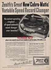 ZENITH, COBRA MATIC RECORD CHARGER, Original Vintage Magazine AD 1952