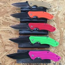 5PC ASSORTED SET BOWIE Spring Assisted Open TACTICAL Pocket Knife 5 COLORS NEW!