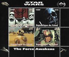 STAR WARS THE FORCE AWAKENS REPUBLIQUE DU TCHAD 2015 MNH STAMP SHEETLET