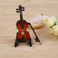 Dollhouse Miniature Wooden Violin with Stand Music Musical Instrument Toy