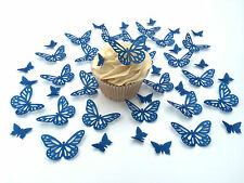 48 Comestibles Royal Blue Mariposas pre corte Oblea Cupcake Toppers