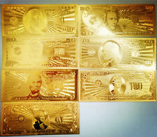 US 7Pcs 24K Gold Plated Commemorative Notes A Dollar Bills American Collection