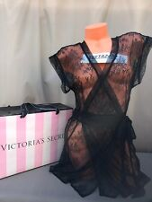 NWT Victoria's Secret Sexy~Sz M ~Luxurious Lingerie ~Sheer Lace ~Robe Gown~Black