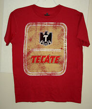 Tecate Mexican Beer Label Logo Red Advertising T-Shirt New NOS Sz Medium