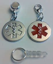 2 Double Sided Medic Alert Charms with Lobster Clasp,Bail & Cell Phone Plug