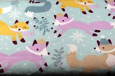 WINTER FOXES SNOWFLAKES FLANNEL FABRIC 100% COTTON SEWING QUILTING SOLD BTY