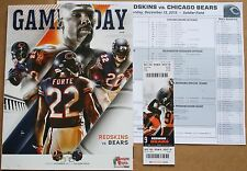 2015 Chicago Bears Washington Redskins Program w/Ticket & Roster Sheet Forte