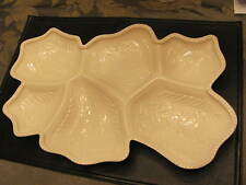 JEANNETTE SHELL PINK MILK GLASS 6 PART SERVING TRAY