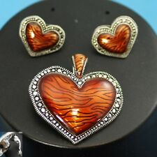 HEART LOVE BRONZISH-BROWN NWT FASHION JEWELRY PENDANT POST EARRINGS SET #250-C