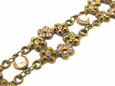 Michal Negrin NWT Open Flower 6 Station Blush & Bronze Interlocking Bracelet-7""