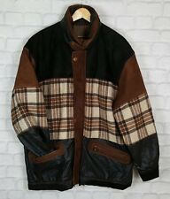 VINTAGE RETRO AZTEC WOOL LEATHER TRIBAL NAVAJO OVERSIZED FESTIVAL JACKET COAT