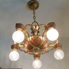 884 Vintage 20s 30s Ceiling Light lamp fixture art nouveau polychrome chandelier