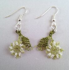 Handmade Needle Lace Crochet Dangle Earrings Light Green Flowers wt Green Leaves