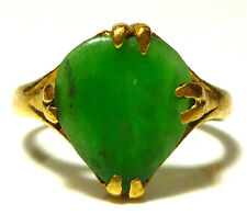 WOMENS ANTIQUE EARLY OLD CHINA CHINESE EXPORT 22K GOLD JADE RING SIZE 5.5