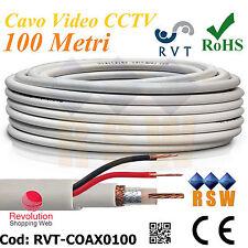 Matassa Cavo Video 100 Metri con RG59 CCTV + 2 cavi Alimentazione TOP QUALITY