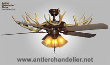 REAL ANTLER WHITETAIL/MULE DEER CEILING FAN, 3 Lights, ACS Lamps, Chandelier