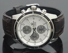 CASIO EDIFICE Chronograph 100M EFR526L-7AV EFR-526L-7AV Leather Free Ship!