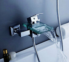AA797 Contemporary Chrome Wall Mounted Waterfall Tub Faucet with Hand Shower