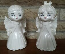 Vintage Christmas angel figurines, set of 2 ceramic hand painted angels