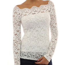 Toprated Women Off Shoulder Lace Crochet Shirt Sexy Slim Casual Blouse Tops