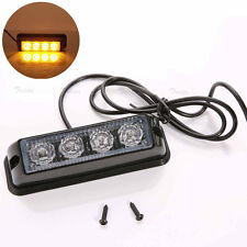 4 LED Amber Car Truck Emergency Beacon Bar Hazard Strobe Flash Warning Light 12V