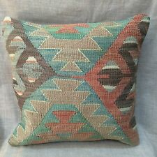 "Handmade Kilim Cushion Cover Throw Pillow Cover Boho Design 16x16"" (40x40cm)"