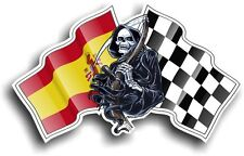 Death The GRIM REAPER & Spain Spanish Racing Flag vinyl car helmet sticker decal