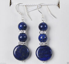 Natural Egyptian Blue Lapis Lazuli Coin Beads Drop Dangle Silver hook Earrings
