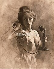 Woman Talking on Candlestick Telephone Breast Exposed Sepia R HENDRICKSON D1061