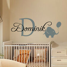 Wall Decals Personalized Name Decal Vinyl Sticker Elephant Balloon Boy Art MN493