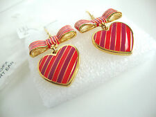 Coach Poppy Heart Bow Stripe Gold/Fuchsia Dangle Hook Earrings NWT