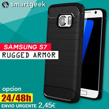 FUNDA TPU Gel para SAMSUNG Galaxy S7 Rugged Carbon slim armor tough hybrid case