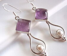 Amethyst Cultured Pearl Dripping Hoop 925 Sterling Silver Earrings Dangle Drop