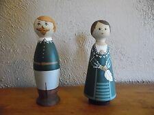 King Gustav II Adolf &  Queen Marie Eleonora Of Sweden Wooden Bookends