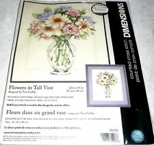 "Dimensions Counted Cross Stitch Kit FLOWERS IN TALL VASE 12"" x 14"""