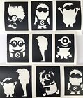 9 x stencils minions top up glitter tattoo kit face painting airbrush prof qual