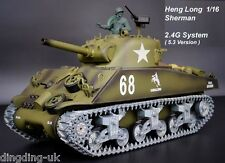 Radio Remote Control RC Tank Heng Long  Sherman M4A3 Platinum 2.4G 1/16 UK