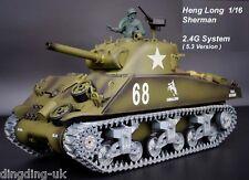 Radio Control Remoto RC Tanque Heng Largo 1/16 Sherman M4A3 toda de metal de las ruedas de carretera