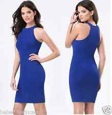 NWT bebe blue racer back sweater bodycon party stretchy top dress S small 4 6