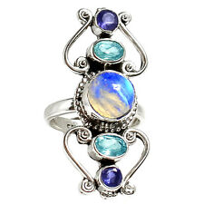 Rainbow Moonstone 925 Sterling Silver Ring Jewelry s.6 RR19169