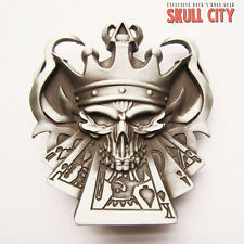 METAL POKER KING SKULL BUCKLE - Gürtelschnalle - Las Vegas Ace Of Spades Gamble