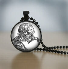 Thinking of the skeleton Cabochon Black Vintage Glass Chain Pendant Necklace