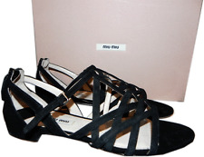 $560 Miu Miu - PRADA Black Suede Strappy Flat Gladiator Sandals 35.5 shoes 5.5