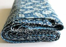 Indigo Kantha Quilt Handmade Patchwork Bedspread Bed Cover 100% Cotton Rali Twin