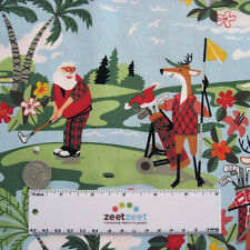 Alexander Henry HOLIDAY Hole-in-One GOLF Aqua CHRISTMAS Quilt Fabric by the Yard